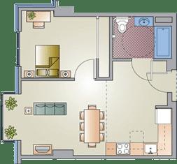 1 Bed / 1 Bath / 550 sq ft / $898-60% $414-30%