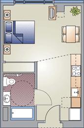 Studio / 1 Bath / 400 sq ft / $850-60% $397-30%